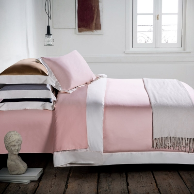 Long Staple Cotton Bed Sheet Patch Border Shiny Satin Pink Color 6