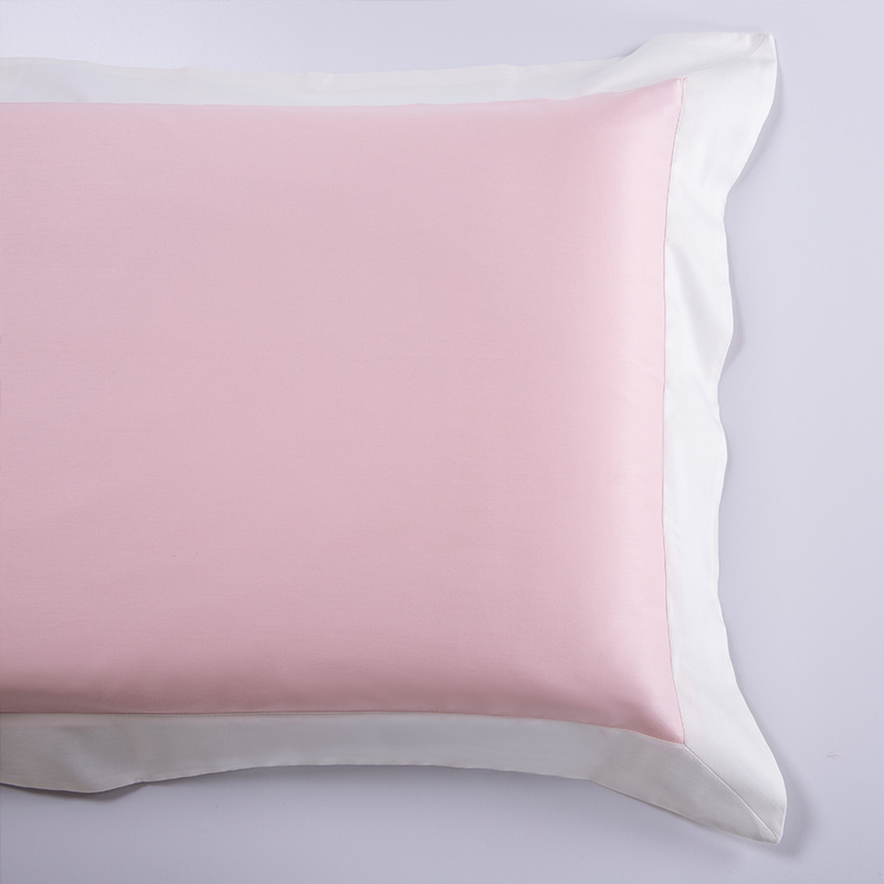 Long Staple Cotton Bed Sheet Patch Border Shiny Satin Pink Color 2