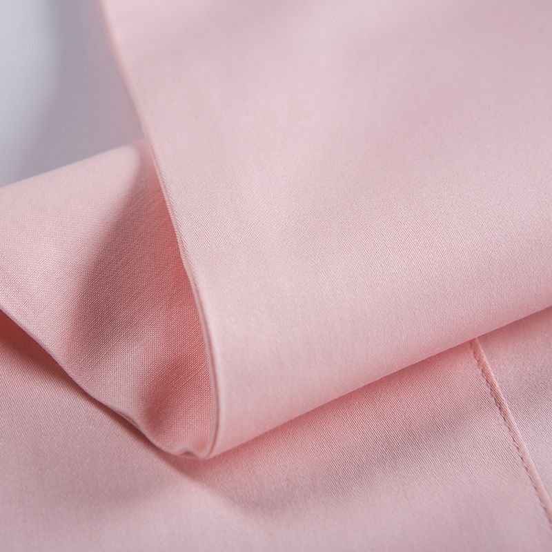 Long Staple Cotton Bed Sheet Patch Border Shiny Satin Pink Color 4