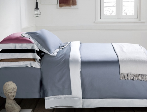 Soft Luxury Satin Long Staple Cotton Bedding Set Dusty Blue