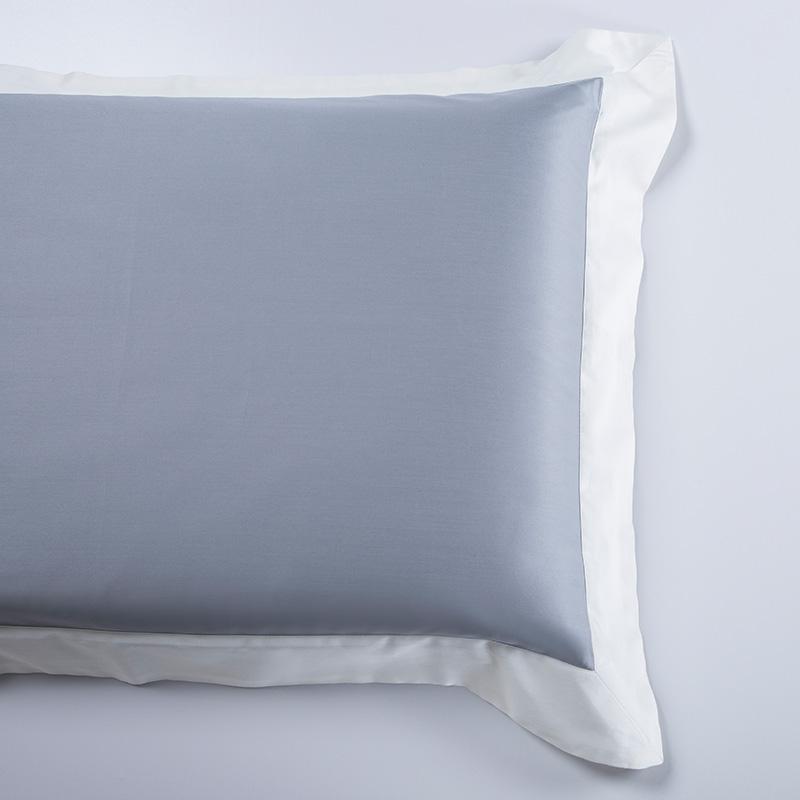 Soft Luxury Satin Long Staple Cotton Bedding Set Dusty Blue 2