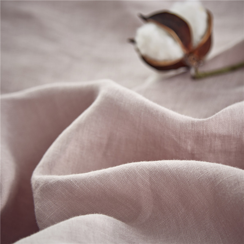 Vintage Washed French Linen Bedding Set (Duvet Cover, Pillow Case, Fitted Sheet) in Rose Dust Color 4