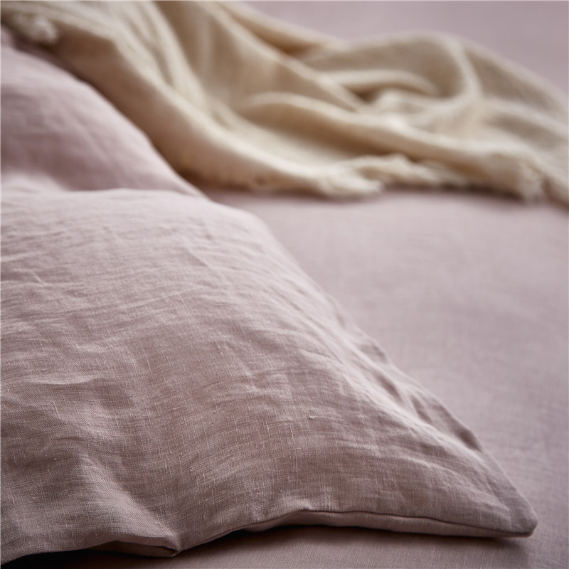 Vintage Washed French Linen Bedding Set (Duvet Cover, Pillow Case, Fitted Sheet) in Rose Dust Color 5