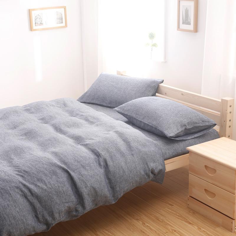 French Linen Bedding Set from OEM Manufacturer Dark Grey Color 1