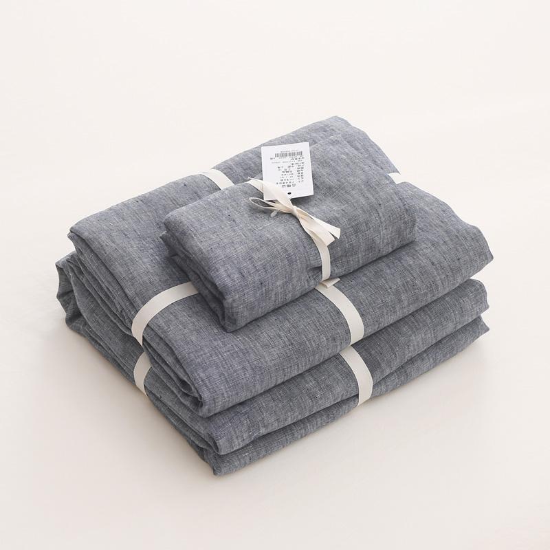French Linen Bedding Set from OEM Manufacturer Dark Grey Color 3