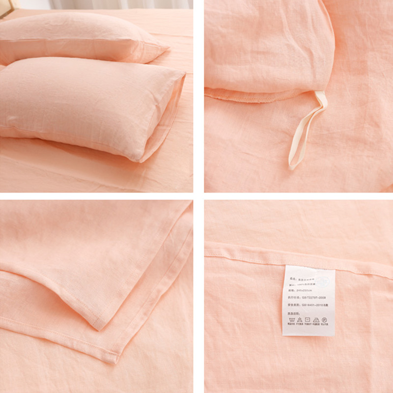 Customized French Linen Duvet Cover, Flat Sheet, Pillowcases for Private Labels 2