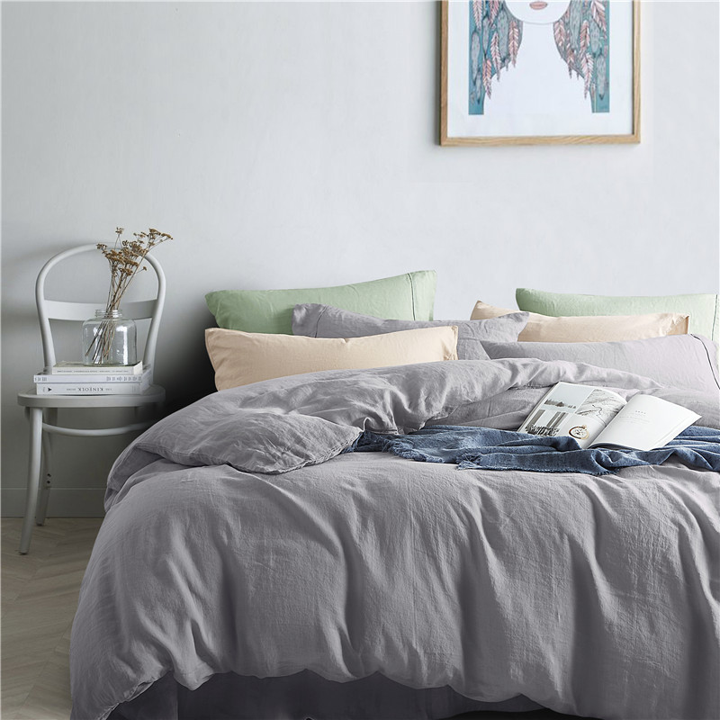 Luxurious 100% Pure French Linen Sheet Set - King, Queen in Grey Color 1