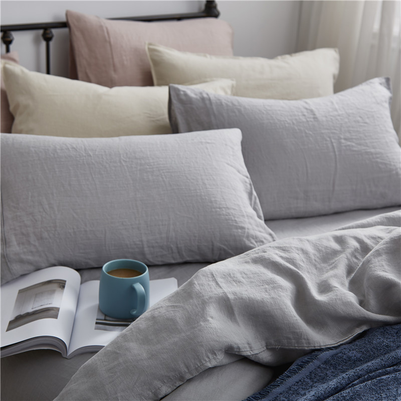 Luxurious 100% Pure French Linen Sheet Set - King, Queen in Grey Color 3