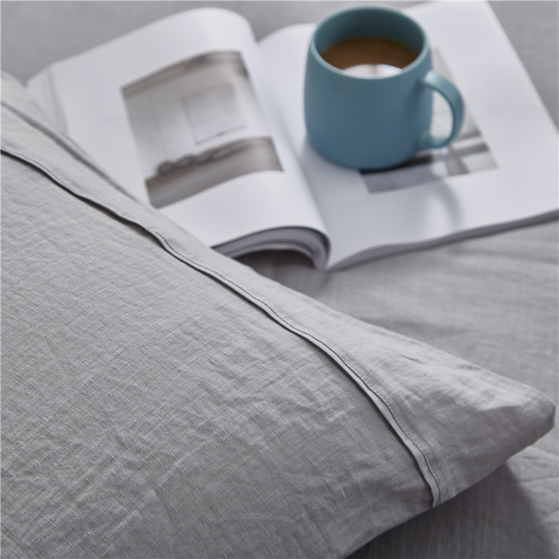 Luxurious 100% Pure French Linen Sheet Set - King, Queen in Grey Color 5