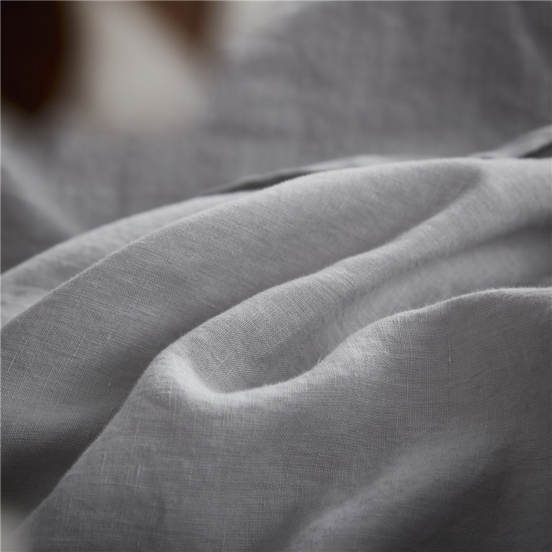 Luxurious 100% Pure French Linen Sheet Set - King, Queen in Grey Color 4