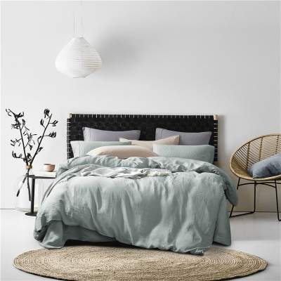 Pure Stone Washed French Linen Sheets Set 100%Natural Linen European Flax in Celadon Color 7