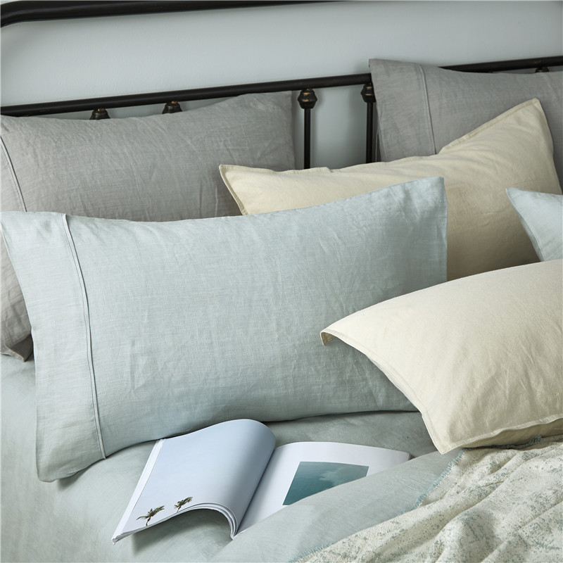 Pure Stone Washed French Linen Sheets Set 100%Natural Linen European Flax in Celadon Color 3