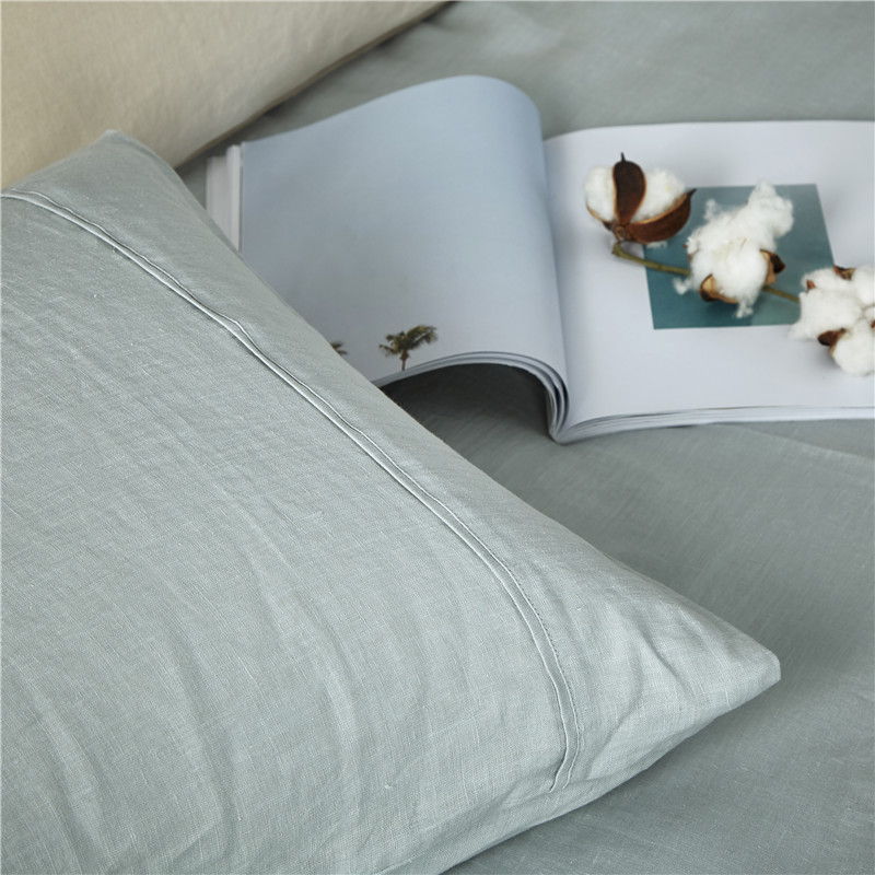 Pure Stone Washed French Linen Sheets Set 100%Natural Linen European Flax in Celadon Color 4