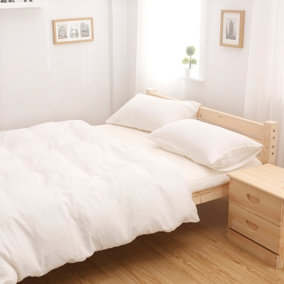 Luxury Private Label Washed French Linen Sheets White Color Plain Style 5