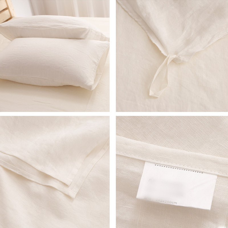 Luxury Private Label Washed French Linen Sheets White Color Plain Style 2