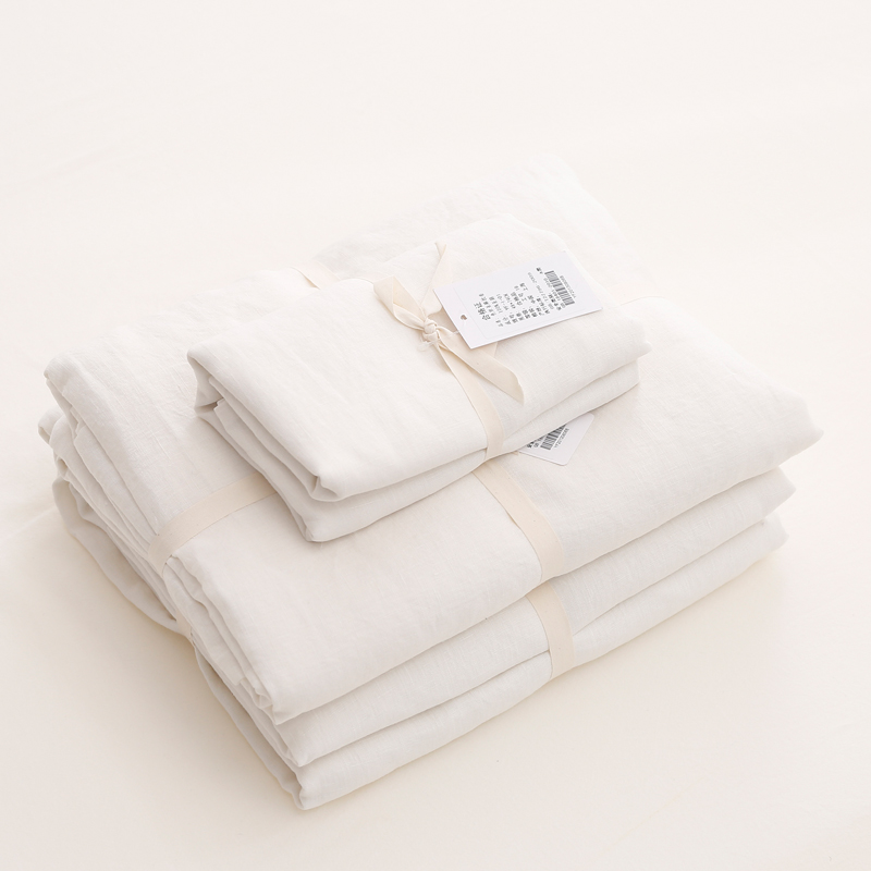 Luxury Private Label Washed French Linen Sheets White Color Plain Style 3