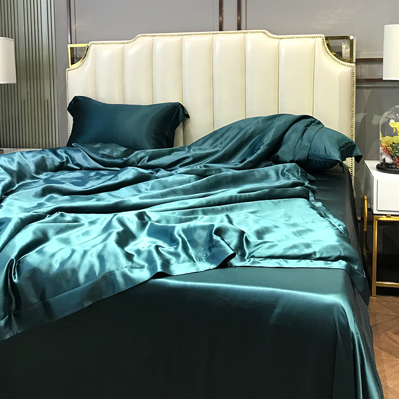 Super Soft and Silky Satin Sheet Set (Solid/Deep Pocket) (Queen, Teal) 2