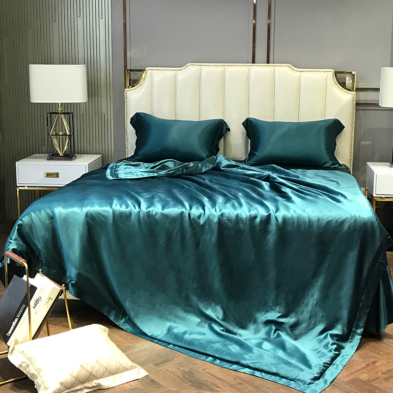 Super Soft and Silky Satin Sheet Set (Solid/Deep Pocket) (Queen, Teal) 1