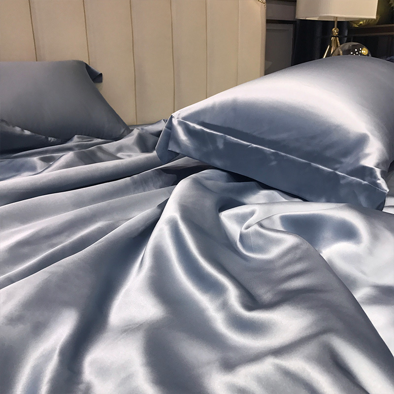 4 Pcs 100% Mulberry Silk Bed Sheet Set, All Side 19 Momme Silk (Queen, Silver Grey) 3