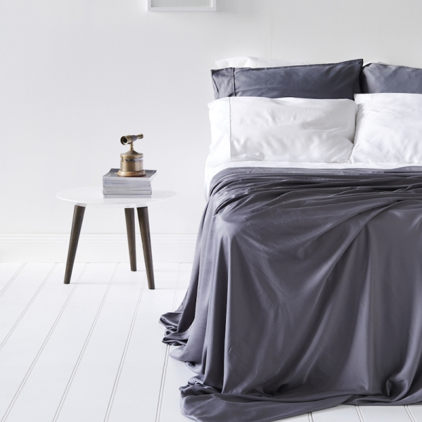 Lyocell Bamboo Sheets 4 Piece Bed Sheet Set - Luxurious Sateen Weave, Slate and Dark Grey 4