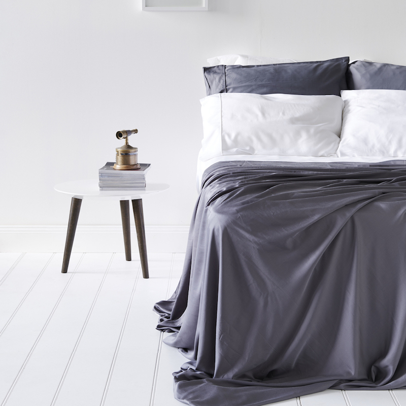 Lyocell Bamboo Sheets 4 Piece Bed Sheet Set - Luxurious Sateen Weave, Slate and Dark Grey 2