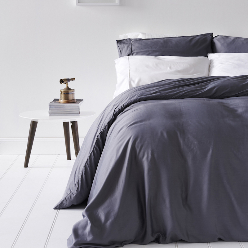 Lyocell Bamboo Sheets 4 Piece Bed Sheet Set - Luxurious Sateen Weave, Slate and Dark Grey 1