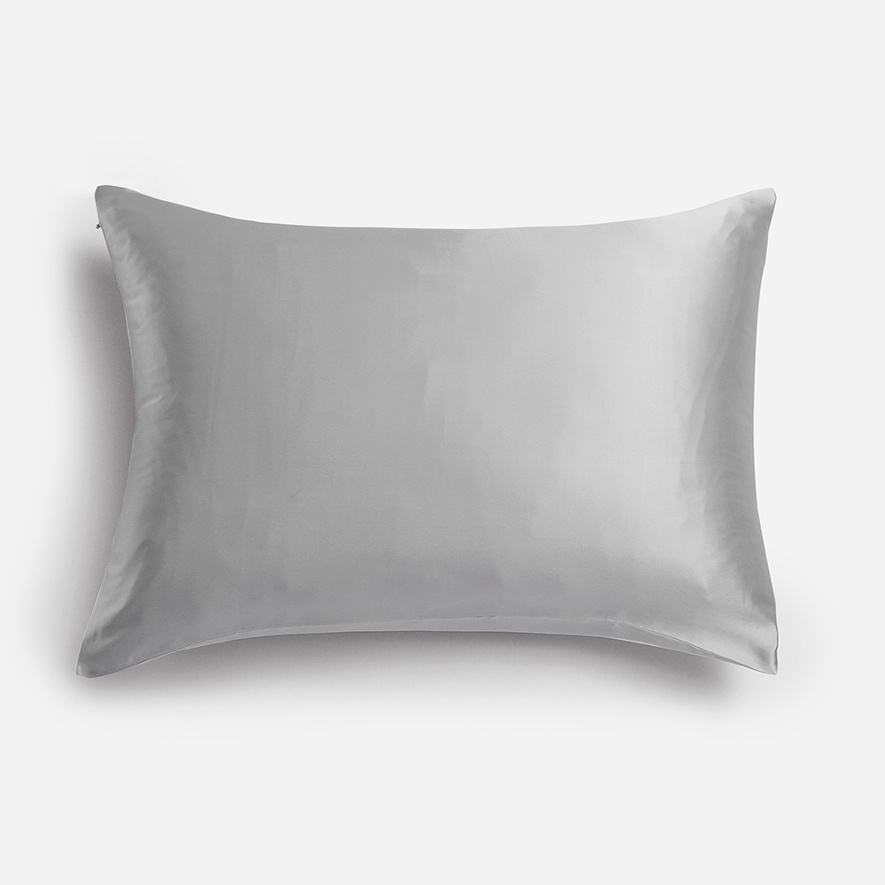 Natural Silk Pillowcase, for Hair and Skin with Hidden Zipper, 22 Momme, 100% Mulberry Silk, Soft Breathable Smooth Both Sided Silk Pillow Cover (Silver Grey, Standard 20''×26'',1pcs) 2