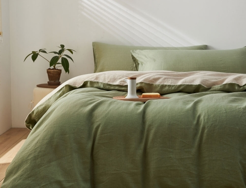 Double Sided AB Sided French Flax Linen Duvet Cover Set Classic/Green (1 Duvet Cover 1 Fitted Sheet 2 Pillow Cases)